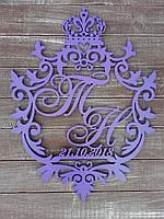 Монограмма или семейный герб с короной. Изготовлено из фанеры 6мм.