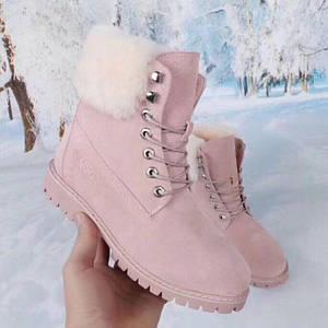 Женские замшевые зимние ботинки UGG розовые