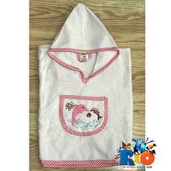 Полотенце с капюшоном для купания, махра (90% cotton, 10% micropoly), размер 1-2, 2-3, 3-4 года (3 ед в уп) белый с розовой каймой