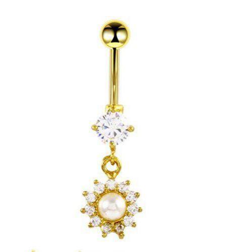 Серьга в пупок с подвеской солнышко жемчуг с кристаллами Swarovski