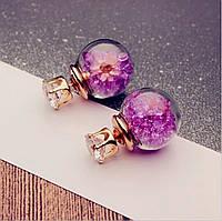 Серьги/сережки круглые прозрачные шарики с кристаллами нарядные «Color style» (пурпурный)