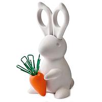 Ножницы и магнит со скрепками Qualy Desk Bunny
