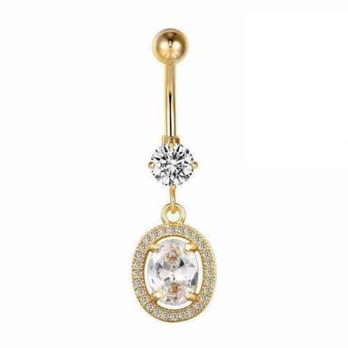 Серьга в пупок украшение с кристаллами Swarovski в крапане