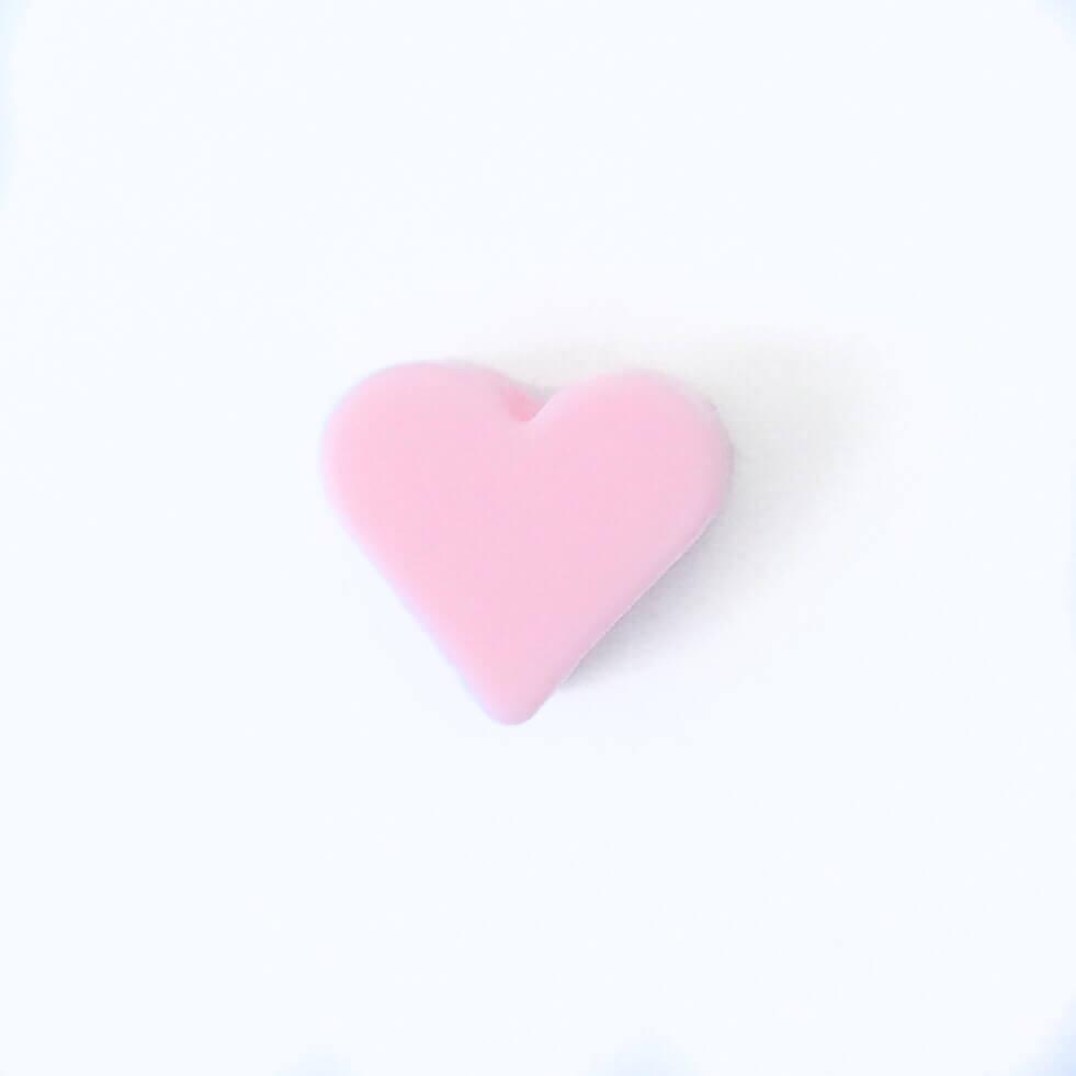 Мини сердечко (роза кварц) силиконовая бусина