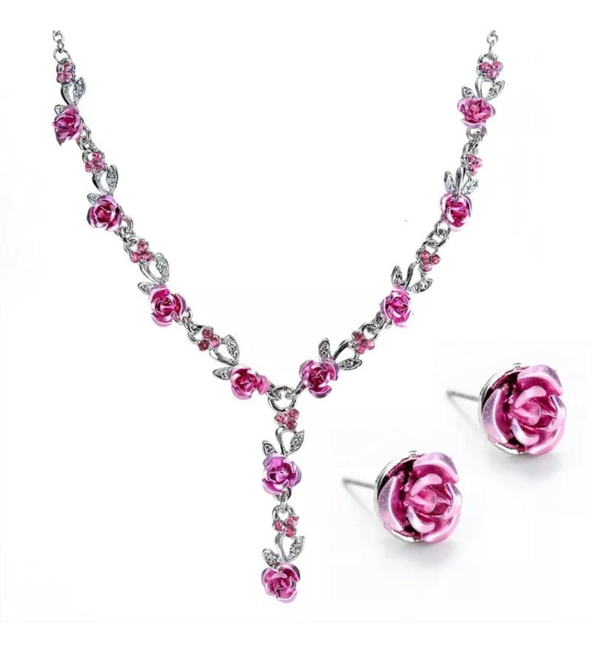 Ожерелье женское с сережками «Rose mood» нежное и женственное розочки (розовый)