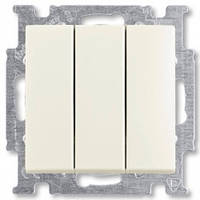 Выключатель трехклавишный, белый-шале, Basic55