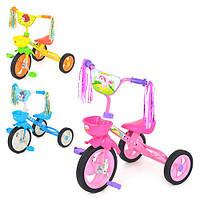 Велосипед M 1657 (3шт)3 колеса, 3 цвета: голуб,роз,зелен.-желт,передн.корзина, кисточки на руле