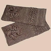 Вязаные рукавички-митенки верблюжьего цвета