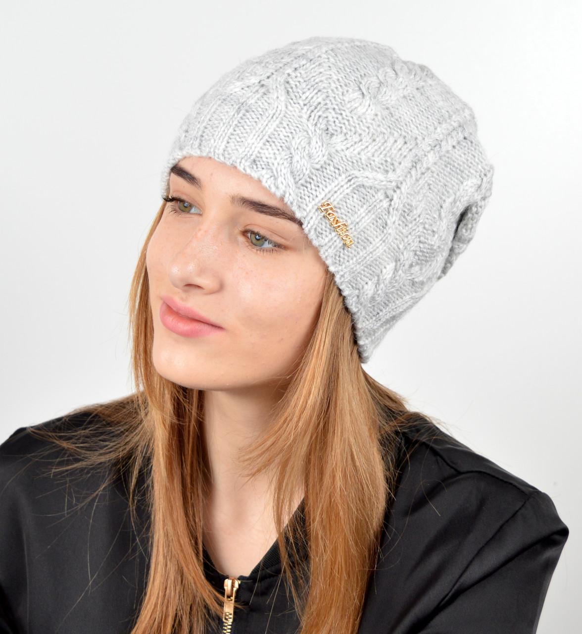 """Женская шапка """"Лиана"""" св.серый"""