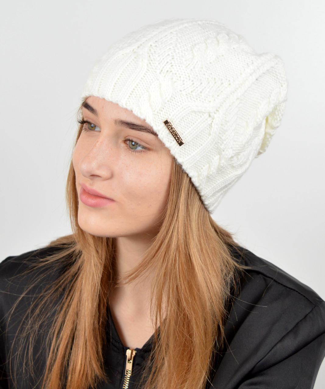 """Женская шапка """"Лиана"""" молоко"""