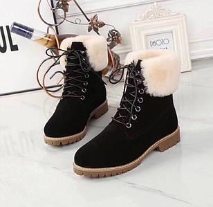 Женские замшевые зимние ботинки UGG черные