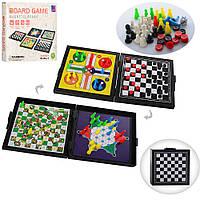 Настольная игра R9204 (72шт) 5в1(шашки,шахматы,мини-шахматы,уголки,лудо),в кор-ке,16,5-15-3см