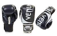 Перчатки боксерские кожаные на липучке VENUM (черный-белый)