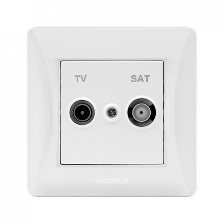 VIDEX BINERA Розетка белая TV+SAT конечная (VF-BNSK2TVSATE-W) (20/120)