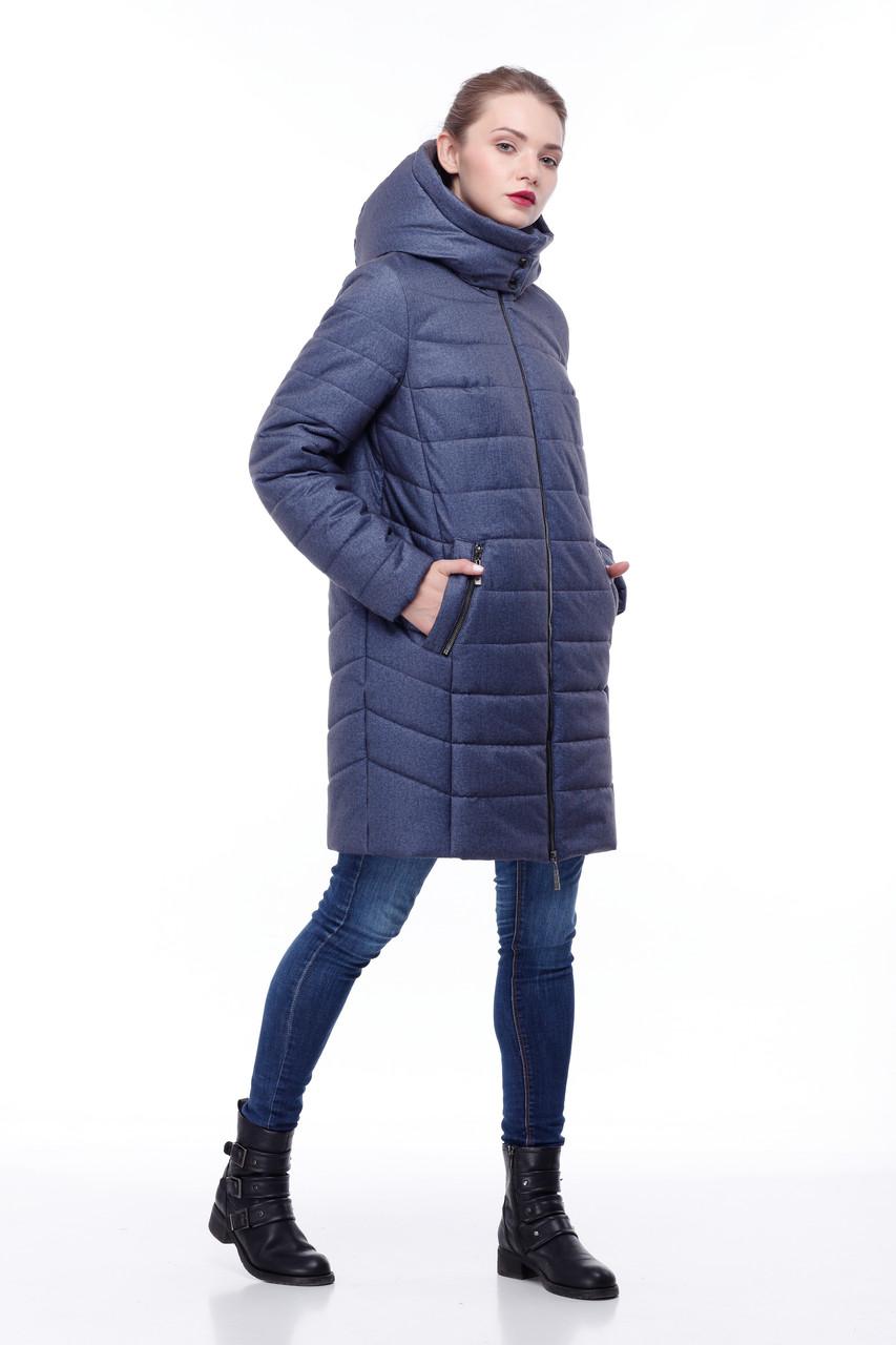 Зимний пуховик на морозы до -30 большие размеры  42- 54 джинс флок