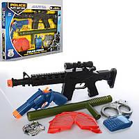 Набор полицейского 90658A детский автомат, пистолет, дубинка, рация, маска, в кор-ке, 43-31,5-4см