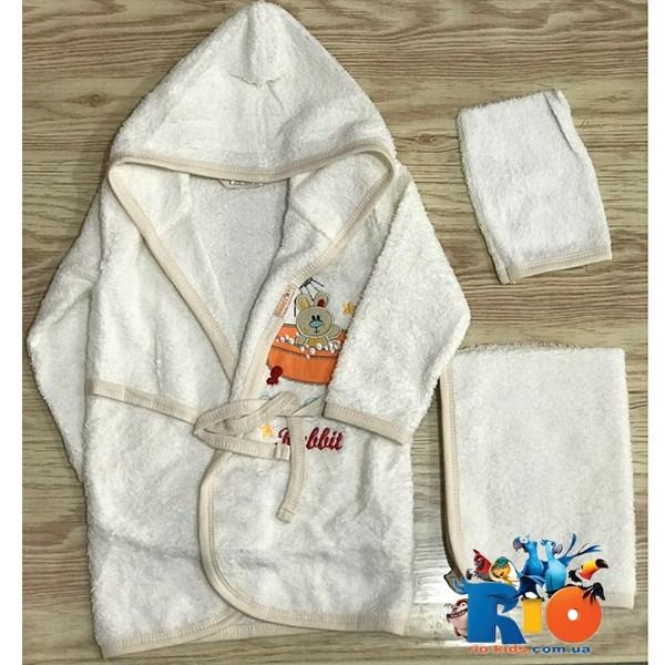 Детский халат, полотенце и мочалка, махра (90% cotton, 10% micropoly), размер 1-2, 2-3, 3-4 года (3 ед в уп)