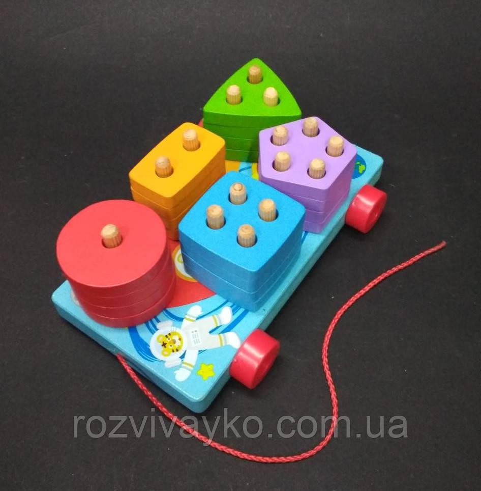 Деревянная игрушка - каталка Геометрика  (сортер, логика)