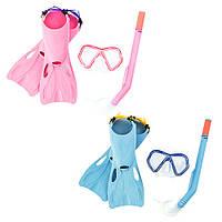 BW Набор для плавания 25024 маска, трубка, ласты, 2цвета, от 8 лет