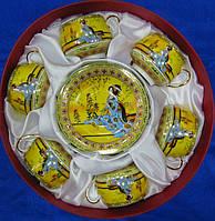 Фарфоровый чайный сервиз Желтый