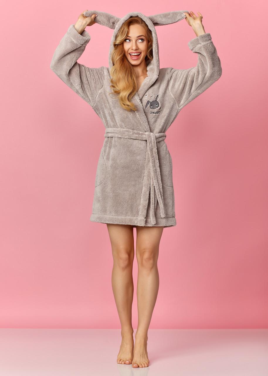 Короткий жіночий халат з вушками на запах L&L 8123