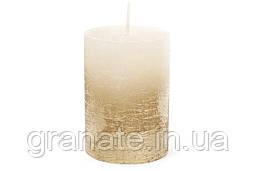 Свеча цилиндрическая 10х7 см , цвет - шампань с золотом