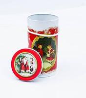 Новогодняя коробка с крышкой из жести D10х19 см, Ретро, Новогодняя упаковка, Днепр