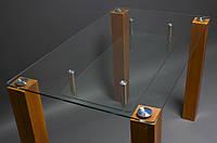 """Стол стеклянный """"Прозрачный"""" с полкой,ноги из деревянного бруса"""