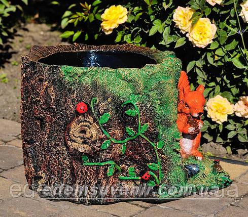 Подставка для цветов кашпо Пенек с белкой, фото 2