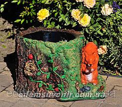 Подставка для цветов кашпо Пенек с белкой, фото 3