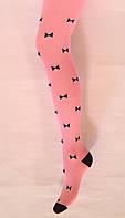 Колготки детские хлопковые розового цвета в бантики, фото 1