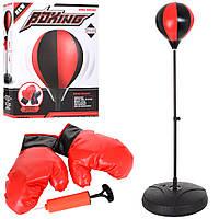 Боксерский набор M 5693 (10шт) груша на стойке,80-110см, перчатки2шт,насос,в кор-ке,37-45-9см