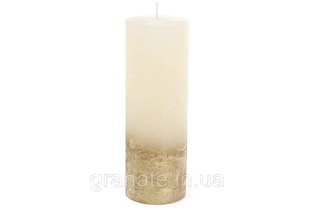 Свеча цилиндр 20х7 см амбре, цвет - шампань с золотом