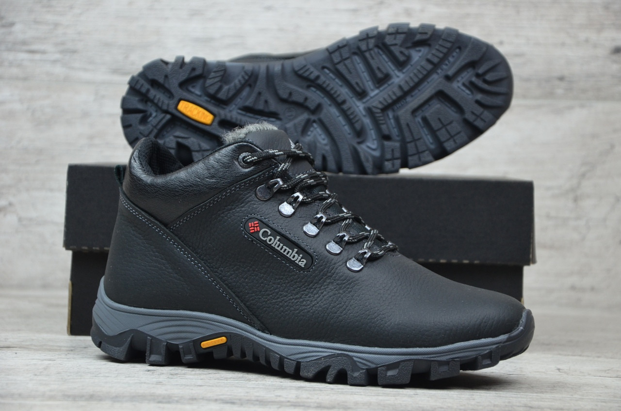 Мужские зимние кожаные ботинки Columbia черного цвета (реплика ... 77c969cb921