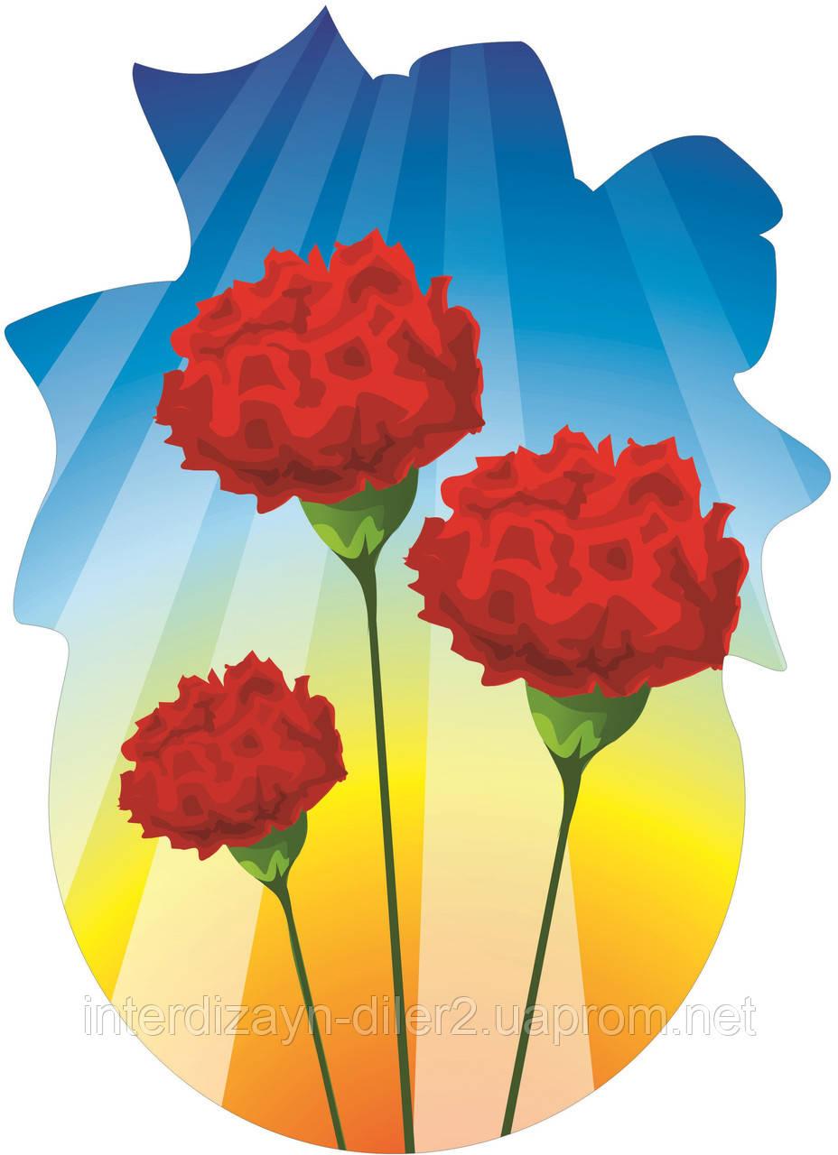Декорация настенная к 8 марта из картона «Гвоздички»
