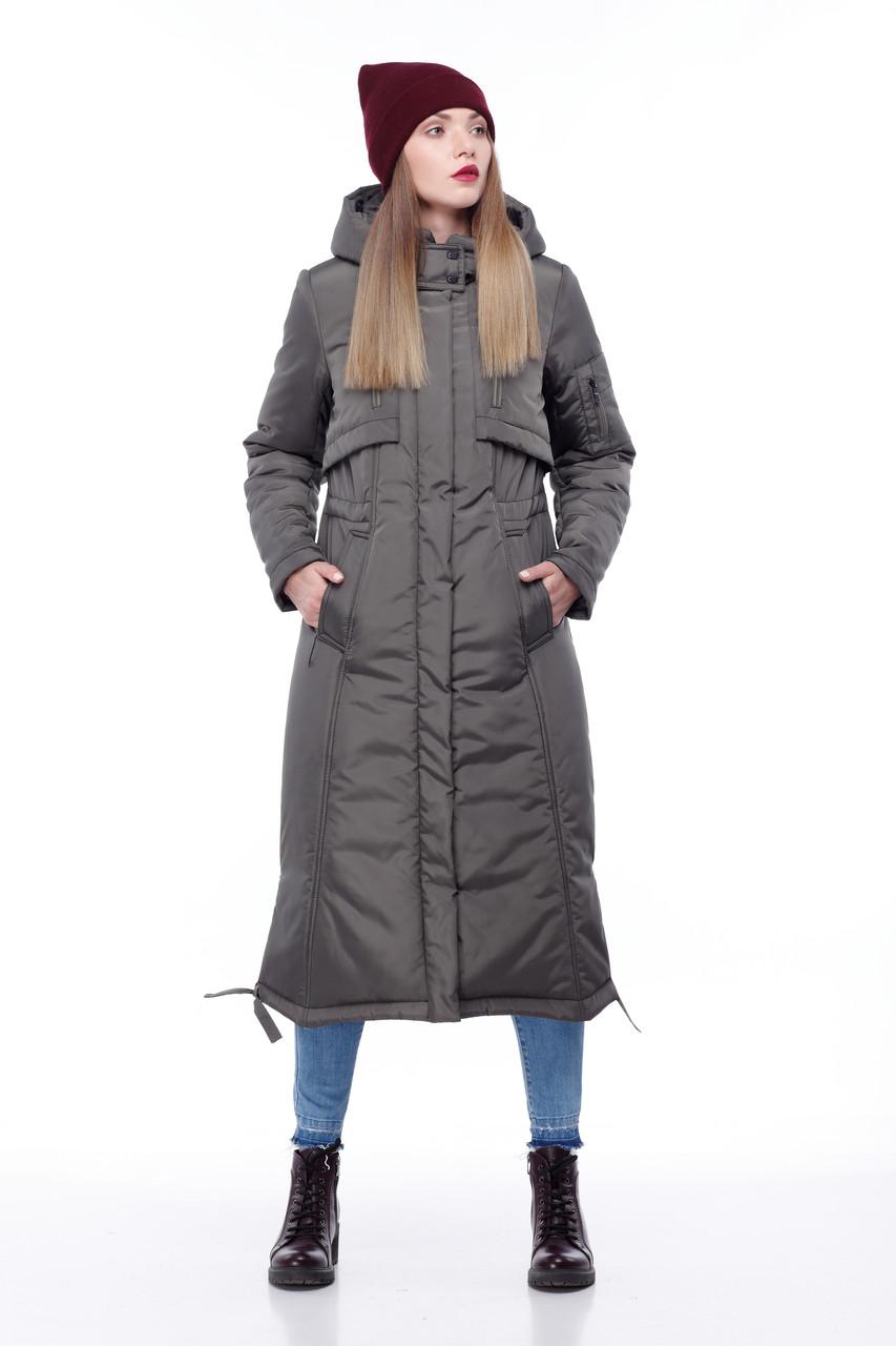 Длинная зимняя парка пуховик на большие морозы большие размеры  42- 54 хаки черный синий