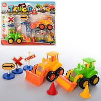 Набор стройтехники 368-2 (54шт) инер-я, трактор 2шт, дорожные знаки, на листе, 30-23,5-7см