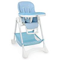 Стульчик M 3569-12 (1шт) для кормления,рег.высота,5точ.ремни,столик выдв,2колеса,кож,голубой