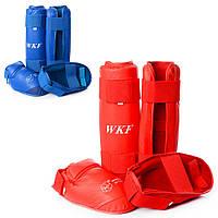 Защита MS 1639 (10шт) для борьбы, для ног, карате, 2шт, размер M,2цвета,в кульке,23-36-7см