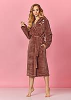 Жіночий натуральний халат у коричневому кольорі із поясом L&L 8135