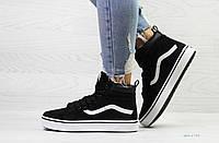 Зимние кроссовки, кеды в стиле Vans Old Skoo, на меху, артикул: 6742 черно белые