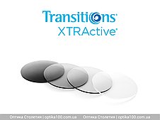 Фотохромная лінза Izoplast 1.5 Transitions XTRActive Brown / Grey. Затемнення до 89%