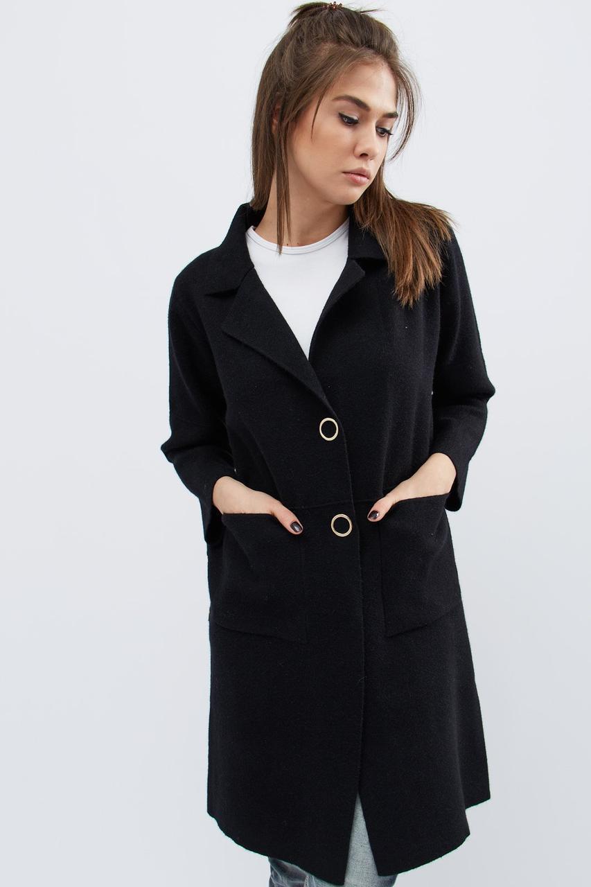 женское вязаное пальто 31012 8 черный 42 46 цена 3 350 грн