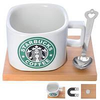 """Чашка """"Starbucks"""" 200мл с дер.подставкой 9*12см и ложкой N00582 (72шт)"""