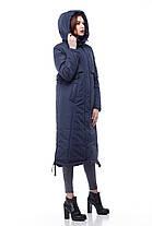 Модный длинный пуховик парка на большие морозы большие размеры  42- 54 хаки черный синий, фото 2