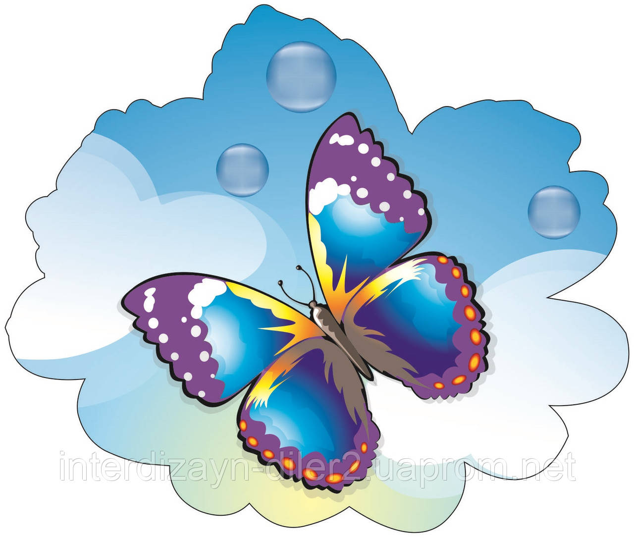 """Декорация настенная из картона """"Бабочка в небе"""""""