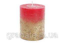 Свеча цилиндрическая 10х8см амбре, цвет - рубиновый с золотом