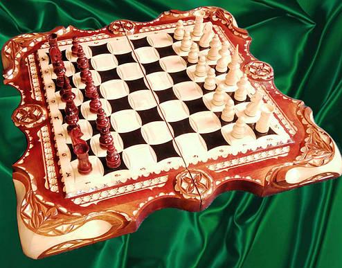 Шахи - нарди - шашки різьблені, фото 2