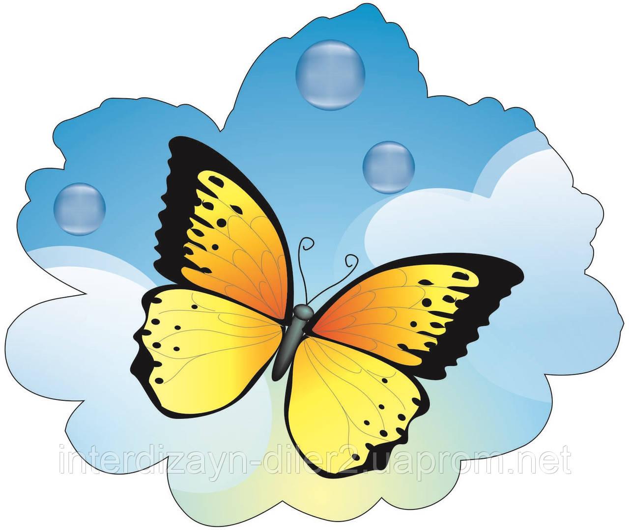 "Декорация настенная из картона ""Желтая бабочка"""