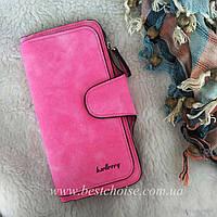Розовый Baellerry Forever. Женский яркий и стильный кошелек - клатч из эко-замши.